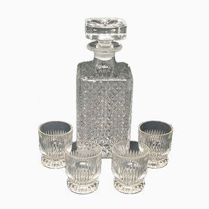 Mid-Century Italian Crystal Decanter and Glasses Set, 1950s, Set of 5