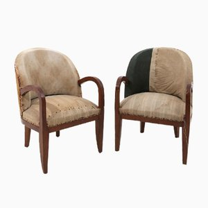 French Wood and Fabric Lounge Chairs, 1950s, Set of 2