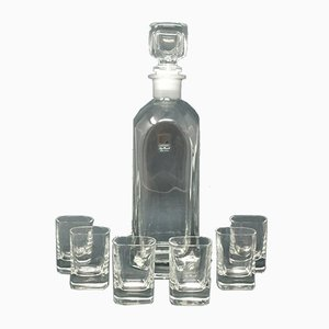 Vintage Italian Crystal Decanter and Glasses Set by Luigi Bormioli, 1970s, Set of 7