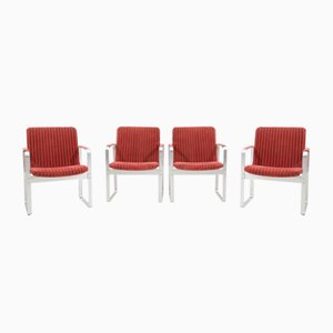 Chrome-Plated Steel and Fabric Lounge Chairs by Karl-Erik Ekselius, 1960s, Set of 4
