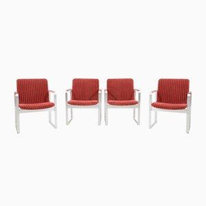 Sessel aus verchromtem Stahl und Stoff von Karl-Erik Ekselius, 1960er, 4er Set