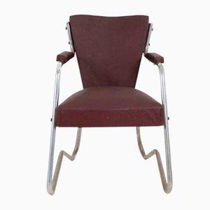 Italienischer Sessel aus Aluminium & Braunem Kunstleder, 1950er