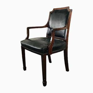 19th Century Leather and Mahogany Open Armchair