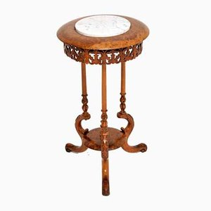 Antique Victorian Burl Walnut and Marble Side Table