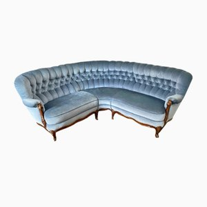 Mid-Century German Blue Chippendale Style Sofa, 1950s