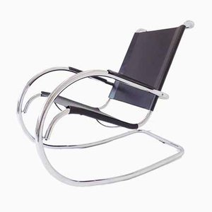 Tubular Chrome and Leather Rocking Chair from Fasem, 1960s