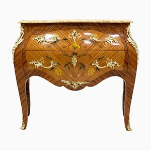 Antique Louis XV Style Rosewood and Brass Chest of Drawers with Marble Top