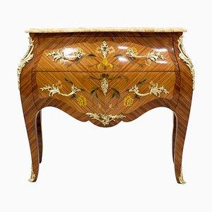 Commode à Tiroirs Style Louis XV Antique en Palissandre et Laiton avec Plateau en Marbre