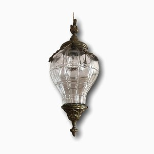 Kronleuchter aus Bronze & Kristallglas, 19. Jh