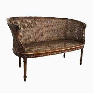 Antique Louis XVI Style Corbeille Canné Sofa