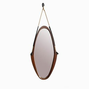 Vintage Italian Oval Teak and Leather Mirror, 1950s