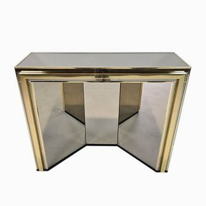Gold-Plated and Smoked Mirrored Glass Console Table from Belgo Chrom / Dewulf Selection, 1980s