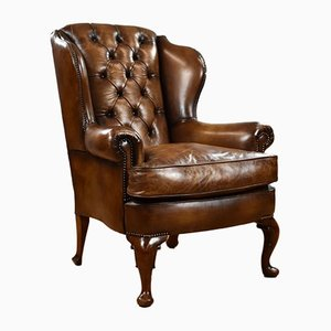 Antique Victorian Hand Dyed Wingback Leather Armchair