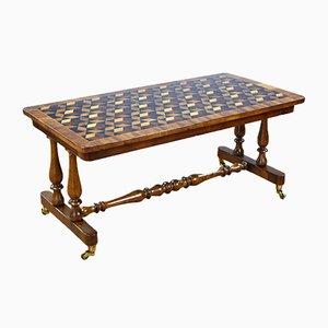 Table Basse Victorienne Antique en Noyer et Bois Incrusté de Parqueterie