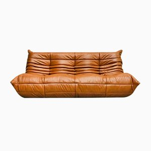 Vintage French Dark Cognac Leather Togo Sofa by Michel Ducaroy for Ligne Roset