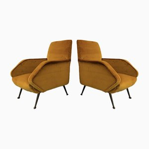 Vintage Italian Yellow Velvet Armchairs, 1950s, Set of 2