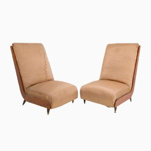 Italian Walnut and Fabric Lounge Chairs by Guglielmo Ulrich, 1950s, Set of 2
