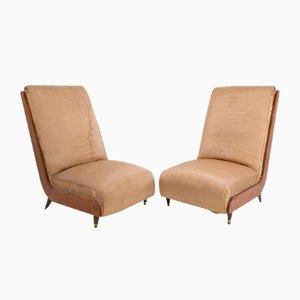 Italian Walnut and Fabric Lounge Chairs by Guglielmo Ulrich, 1950s, Set of 2