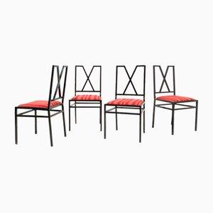 Lackierte Esszimmerstühle aus Messing & Stoff von Marialessia, 1970er, 4er Set