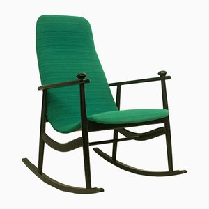 Mid-Century Black and Turquoise Rocking Chair, 1960s