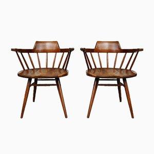 Mid-Century Captain Chairs aus Nussholz von George Nakashima für Nakashima Studio, 2er Set
