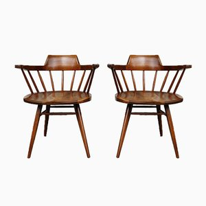 Mid-Century Walnut Captain Chairs by George Nakashima for Nakashima Studio, Set of 2