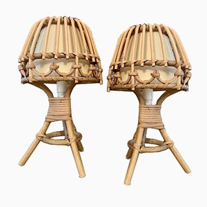 Bamboo and Cane Table Lamps, 1970s, Set of 2