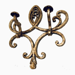Vintage Wrought Iron and Gold Leaf Coat Rack