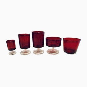 Ruby Red Glass Set from Arcoroc, 1970s