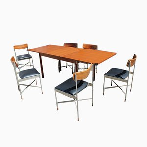 Italian Extendable Teak and Metal Dining Table & Chairs Set, 1960s, Set of 7