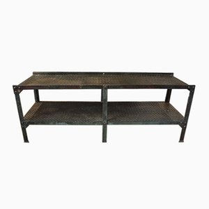 Vintage Industrial Steel Top Console Table, 1940s