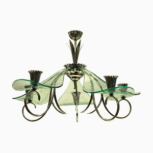Italian Glass and Silver-Plated Candleholder Chandelier, 1940s