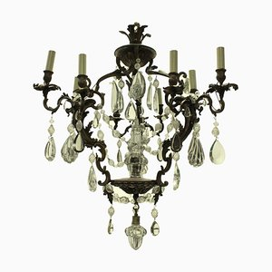 Antique Rococo French Bronze and Cut Glass Chandelier