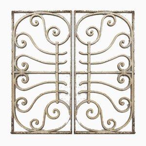 Grilles de Fenêtre ou Grilles de Clôtures Art Nouveau en Fer Forgé, Set de 2