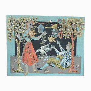 Vintage Wandteppich von R. Debiève, 1950er