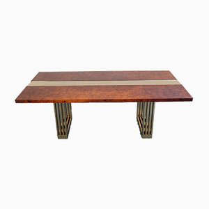 Vintage Briar Maple and Brass Dining Table from Turri, Italy, 1979