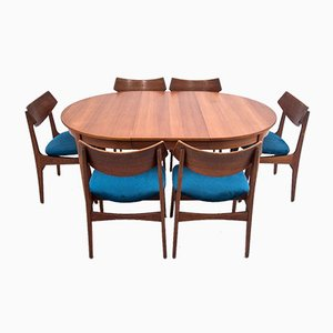 Teak Dining Table & Chairs Set, 1960s, Set of 7