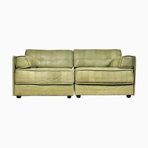 Vintage Patchwork Leather Modular 2-Seat Sofa, Set of 2