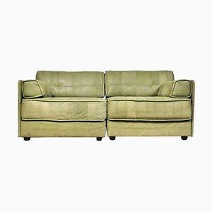 Vintage Patchwork Leather Modular 2-Seat Sofa, Set of 2
