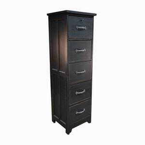 Black Patinated Oak Filing Cabinet, 1930s