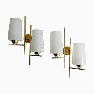 Französische Mid-Century Messing & Glas Wandlampen von Lunel, 1960er, 2er Set