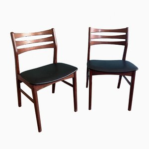 Danish Beech and Black Leatherette Dining Chairs from Faldsled, 1970s, Set of 2