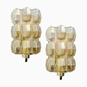 Bubble Glass and Brass Sconces by Helena Tynell for Limburg, 1970s, Set of 2