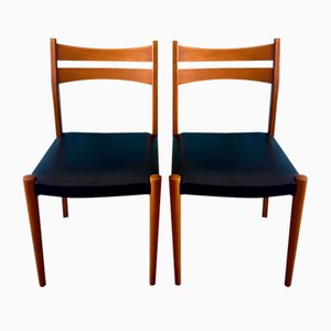 Scandinavian Beech and Black Leatherette Dining Chairs, 1950s, Set of 2