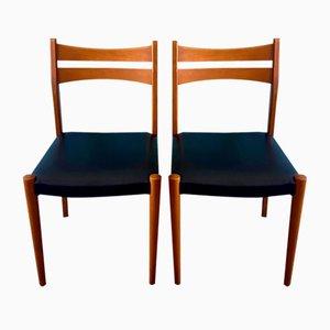 Skandinavische Esszimmerstühle aus Buche & Schwarzem Kunstleder, 1950er, 2er Set