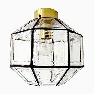Mid-Century Deckenlampe aus Glas & Messing von Glashütte Limburg & Hans-Agne Jakobsson AB, 1960er