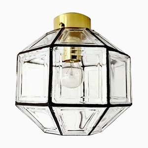 Mid-Century Glass and Brass Flush Light Ceiling Lamp from Glashütte Limburg & Hans-Agne Jakobsson AB, 1960s