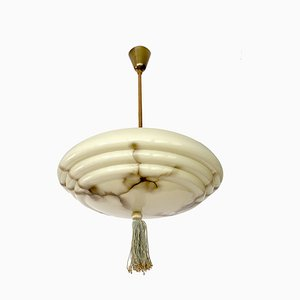 Art Deco Marble Glass Pendant Lamp, 1930s