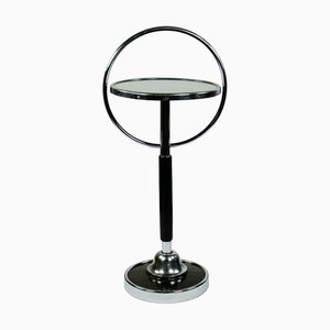 Art Deco Bauhaus Black and Chrome Tubular Steel Side Table, 1930s