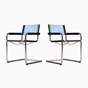Leather Model S33 Armchairs by Mart Stam & Marcel Breuer for Fasem, 1980s, Set of 2